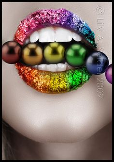 glitter lips with rainbow crush sparkles  #rainbows