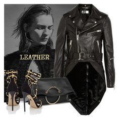 """LEATHER"" by tiziana-melera ❤ liked on Polyvore featuring Yves Saint Laurent, Victoria Beckham, Paul Andrew, Leather, leatherjacket, polyvoreeditorials and fallwinter2015"