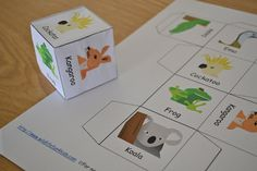 Fun idea - homemade dice with animals. Throw the die, then act out the animal that comes up. I would definitely turn it into a matching game Animal Activities For Kids, Rhyming Activities, Animal Games, Book Activities, Australian Party, Australian Animals, Wombat Stew, Anzac Day, Australia Day