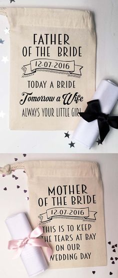 Gift for table to Mother of the bride, Father of the Bride. Small gift bag and cotton handkerchief To keep the tears at bay on our wedding day. Wedding gift idea, for each of the top table, Mother of the Bride, Mother of the Groom etc. Available on Amazon. Wedding Ideas and inspiration. #weddings #motherofthebride #weddinginspo #weddingideas #affiliatelink #bride #motherofthegroom #giftideas