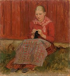 Knitting Painting - A Girl Knitting by Albert Edelfelt
