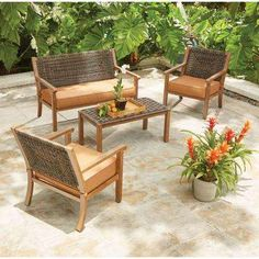 Kapolei 4-Piece Wicker Patio Conversation Set with Reddish Brown Cushions