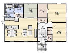 26坪 ❁水廻り修正❁ Sims House Design, One Story Homes, Story House, Floor Plans, Flooring, How To Plan, Japanese Style, Living Spaces, Architecture