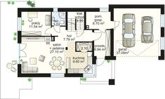 Samba V projekt - Parter m² + garaż m² Samba, Two Story Homes, Modern House Design, House Plans, Floor Plans, Exterior, How To Plan, Story House, Houses