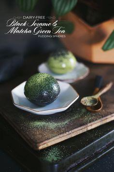 Dairy-Free Matcha Green Tea & Black Sesame Pudding Spheres | dine x design