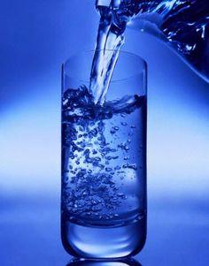 Azure liquid in a glass