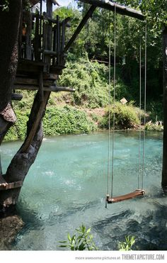 Swimming pool designed to look like a pond. LOVE.