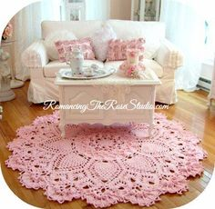 Crochet rug, pink crochet, doily rug