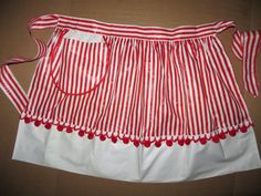 Vintage Apron, Rockabilly, 50s Apron, Red Candy Cane Stripe, with Red Puff Balls, Unused, New Old Stock, Retro, Mid Century Apron by TomCatBazaar on Etsy