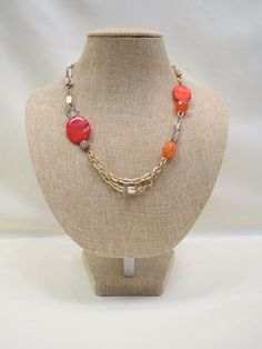 ADO | Orange Bead Gold Chain Necklace Short - All Decd Out