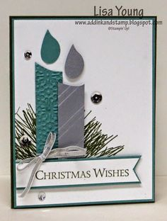 ... handmade Christmas card from Add Ink and Stamp: Christmas Candles ... punch art candles nestle on  pine brances ... like the asymmetrical balance ...
