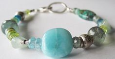 Multi Gemstone Bracelet - Gallery Style Bracelet - Silver Bracelet - Peridot - Amazonite - Moss Aquamarine - Opals - Ocean Colors Bracelet