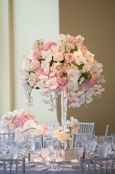 stunning pink reception wedding flowers, wedding decor, wedding flower centerpiece, wedding flower arrangement, add pic source on comment and we will update it. www.myfloweraffair.com can create this beautiful wedding flower look. #weddingflowerarrangements #weddingpics