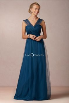 Unique blue long bridesmaid dresses with tulle straps and special back