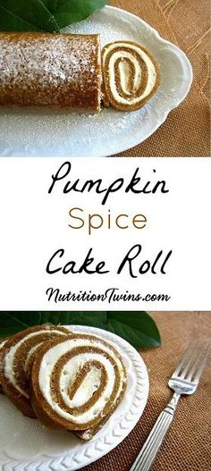 Pumpkin Spice Cake Roll | Lightened Up Dessert | Only 145 Calories | Sweet, Rich & Creamy | Guilt-free Comfort Food | For MORE RECIPES, fitness & nutrition tips please SIGN UP for our FREE NEWSLETTER www.NutritionTwins.com