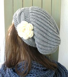 Hand Knit Hat Womens hat  chunky knit Slouchy Beanie  by Ebruk, $40.00