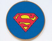 Superman Cross Stitch Pattern, Superhero Crest Counted Cross Stitch Chart, Super-Man, Justice League, PDF Format, Instant Download