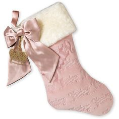 Juicy Couture 'Iconic' Velour Stocking ($43) ❤ liked on Polyvore featuring pink, fillers, christmas, juicy couture and accessories