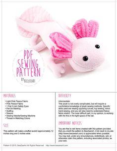 Axolotl Stuffed Animal Sewing Pattern Plush Toy von BeeZeeArt