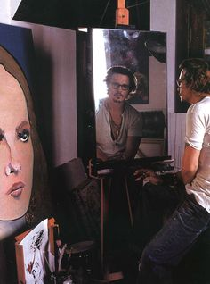 """Johnny  Depp has painted many famous people including Bob Dylan, Patti Smith, Kerouac and Marlon Brando. He also enjoys painting his children and partner, Vanessa Paradis. In an interview with Douglas Brinkley for Vanity Fair (July 2009), he stated, """"What I love to do is paint people's faces, y'know, their eyes. Because you want to find the emotion, see what's going on behind their eyes."""""""