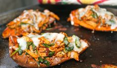 These baked chipotle chicken stuffed sweet potato skins are the perfect healthy dinner or party snack!