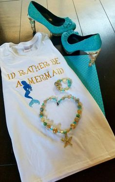 Check out this item in my Etsy shop https://www.etsy.com/listing/451958544/id-rather-be-a-mermaid-tshirt-mermaid