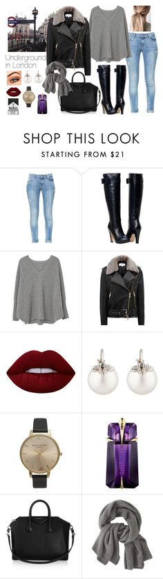 """""""Underground in London"""" by boiteasecrets ❤ liked on Polyvore featuring Zara, MANGO, Reiss, Lime Crime, Samira 13, Olivia Burton, Thierry Mugler, Givenchy and Wrap"""