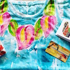 Custom order pink anthurium lei on Aqua background - cotton tunic sizes s - 2x.  Hand painted with aloha from Kaua'i Hawaii