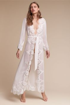 Shop our vintage-inspired bridal lingerie collection. BHLDN offers a variety of wedding lingerie perfect for your wedding night and beyond! Lace Bridal Robe, Bridal Boudoir, Lace Lingerie Set, Bridal Lingerie, Bridal Robes, Pretty Lingerie, Lingerie Sleepwear, Honeymoon Lingerie, Wedding Night Lingerie