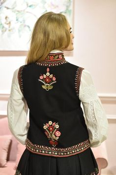 Embroidered vest Black pearl hand made vest hand embroidery black short vest bohemian suede vest ethnic women vest warm Wool Embroidery, Embroidery Fashion, Embroidery Dress, Embroidered Clothes, Embroidered Blouse, Kurta Designs Women, Blouse Designs, Gilet Jeans, Black Waistcoat