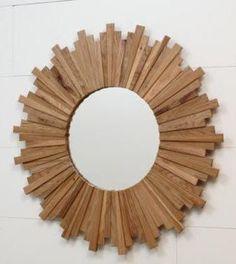 White Oak Sunburst Mirror