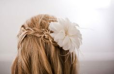 Side braid with embellishment and flowy hair