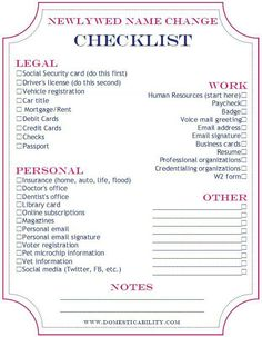 name change checklist might come in handy