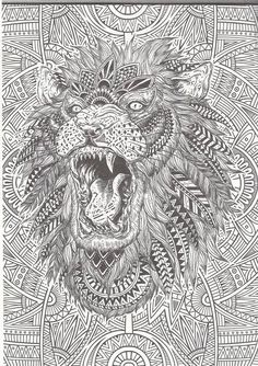 I love how this image not only has an amazingly detailed lion it also has a very unique background! More cool stuff at bestadultcoloringbooks.com