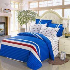 豪華スターシェイプブルーカラー高品質4ピース寝具セット