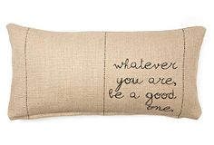 "One Kings Lane - Pillow Talk - ""You Are"" 12x24 Pillow, Natural"