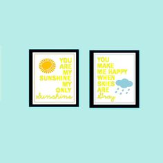 You are my sunshine prints Set of Two  8x10 by LittlePergola, $30.00