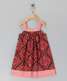 Take a look at this Brown & Pink Brocade Jumper - Toddler & Girls by Nikkiloo on #zulily today!