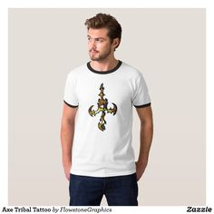 Tribal Axe Tattoo - gold T-Shirt