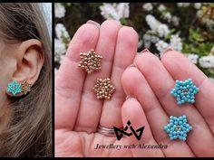 How to make the Stella earrings - diy handmade beaded stud star shaped earrings tutorial - YouTube Beaded Earrings Patterns, Bead Earrings, Bracelet Patterns, Handmade Bracelets, Earrings Handmade, Handmade Jewelry, Beaded Bracelets, Handmade Beads, Earring Tutorial