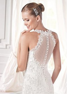 Glamorous Tulle High Collar Neckline Natural Waistline Mermaid Wedding Dress With Venice Lace Appliques