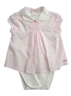 Chloé kids Chloe kids girls pink cotton onsie dress with peter pan collar