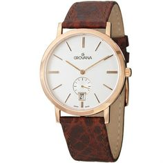 Grovana Men's White Dial Rose Gold Brown Leather Strap Quartz Watch