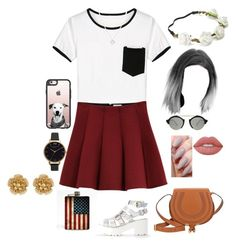 """Sin título #126"" by viviana0 ❤ liked on Polyvore featuring Outstanding Ordinary, Illesteva, Casetify, Candie's, Olivia Burton, Chloé, Lime Crime, Miriam Haskell and Wolf & Moon"
