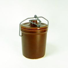 Small Brown Stoneware Cheese/Butter Crock, Farmhouse Decor, Storage by OldRedHenVintage on Etsy