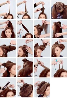 Collection of step-by-steps for any hair length. Creative Hairstyles, Retro Hairstyles, Fantasy Hair, How To Make Hair, Make Up, Wig Styles, Long Hair Styles, Historical Hairstyles, Competition Hair