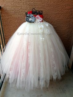 One Shoulder Ivory Lace Flower Girl Tutu Dress by KatieDscreations, $150.00