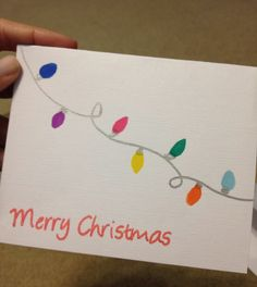 christmas card cards easy diy drawing handmade drawings lights simple holiday greeting homemade xmas spanish creative crafts colored really families