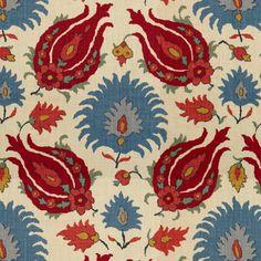 BR-700020-176 Kashmiri Linen Print Pomegranate/Blue Brunschwig and Fils Fabrics