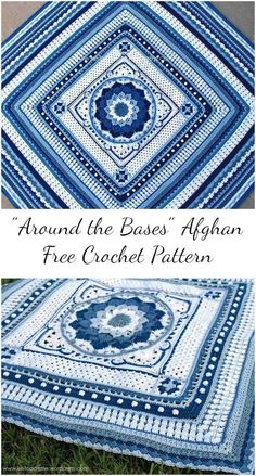 Around the Bases is a crochet project stitch sampler that transforms YOUR most loved focus hinder into an afghan. It can be made with any square or rectangle theme, utilizing any yarn weight. The written pattern is below. If yo Crochet Afghans, Motifs Afghans, Afghan Crochet Patterns, Crochet Blankets, Knit Patterns, Baby Afghans, Block Patterns, Throw Blankets, Mandala Au Crochet